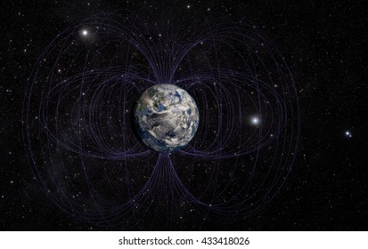3D rendering of Planet Earth's magnetic field. Elements of this image furnished by NASA