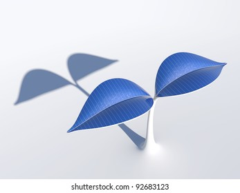 3D rendering of a plant which has solar panels on its leaves.