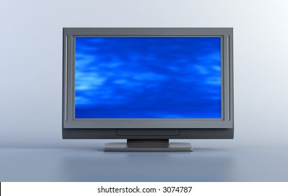 3d rendering plasma TV into the room