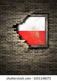 3d rendering of a Poland flag over a rusty metallic plate embedded on an old brick wall