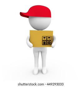 3D Rendering Postman with cap and bag