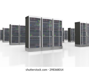 3d rendering of powerful computer set of networking data servers in datacenter