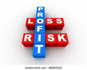 3d rendering profit, loss and risk ( red-white crossword series)