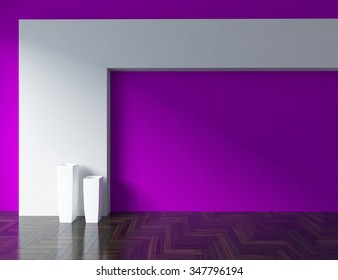 3D rendering of a purple empty interior