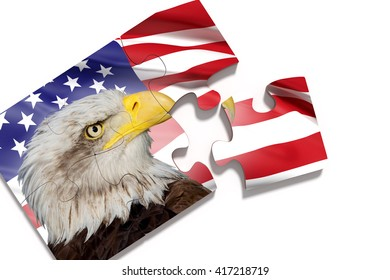 3d rendering of puzzle pieces with Eagle against of waving American flag on white background.Isolated.