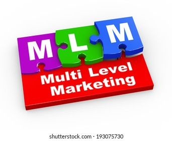 3d rendering of puzzle pieces presentation of  mlm - Multi Level Marketing