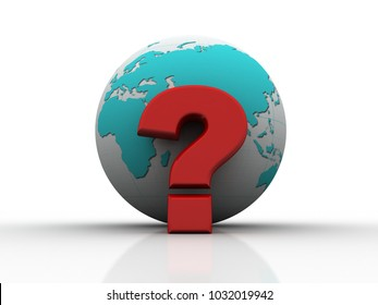 3d rendering question mark and globe