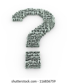 3d rendering of question mark symbol words