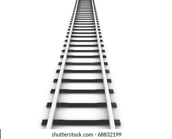 3d rendering railway track, isolated on white background.