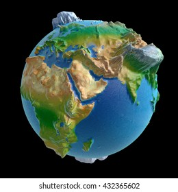 3D rendering: raised-relief world globe with Saudi Arabia in the front