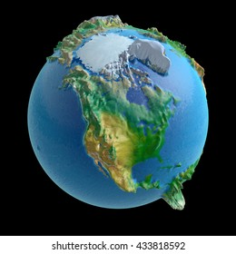 3D rendering: raised-relief world globe with North America in the front Elements of this image furnished by NASA