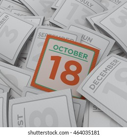 3d rendering random calendar pages 18 october
