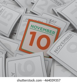 3d rendering random calendar pages 10 november