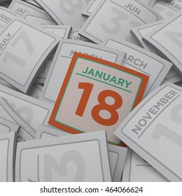 3d rendering random calendar pages january 18