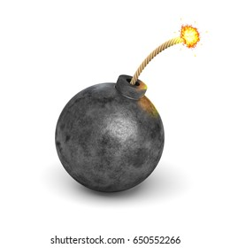 3d rendering of a realistic black iron round bomb with a lit burning fuse on white background. Destruction and danger. Arms and weapons. Explosions.