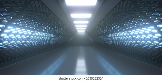 3D Rendering Of Realistic Empty Black Corridor With Grid Mesh Walls And Lights