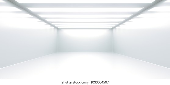 3D Rendering Of Realistic Empty White Room With Lights