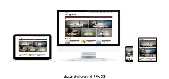 3d rendering of realistic isolated devices showing magazine landing page on screen: tablet, phone, computer and laptop on white background.