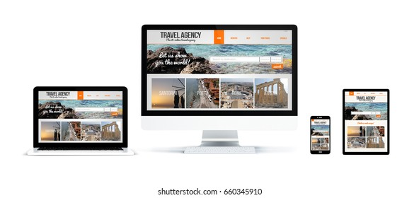 3d rendering of realistic isolated devices showing travel agency website on screen: tablet, phone, computer and laptop on white background.