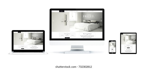 3d rendering of realistic isolated devices showing hotel landing page on screen: tablet, phone, computer and laptop on white background.