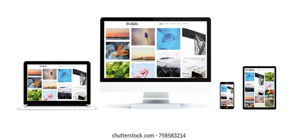3d rendering of realistic isolated devices showing portfolio photo website on screen: tablet, phone, computer and laptop on white background.