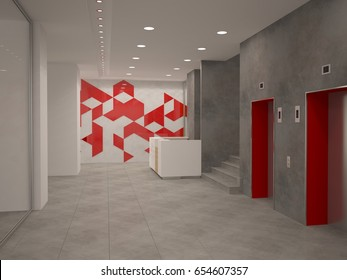 3d rendering of a reception interior design