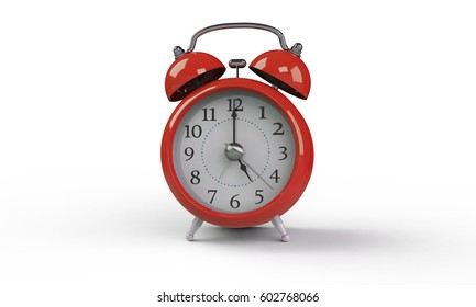 3d rendering of Red Alarm clock isolated on white. It shows exact time and has two bells. metal legs. hour minute alarm hands