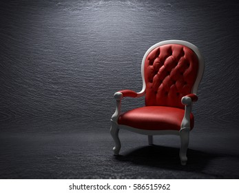 3D rendering of a red armchair on a slate stone background.