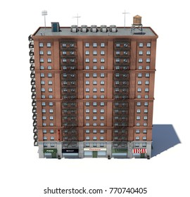 3d Rendering Of A Red Brick Apartment Building With Fire Escapes And Shops  On The Ground
