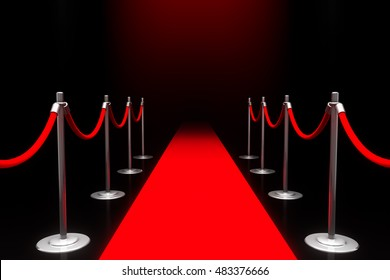 3D Rendering of Red carpet, with Clipping Path (carpet and ropes).