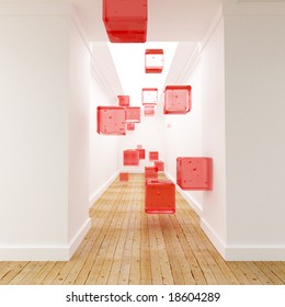 3D rendering of red cubes floating in mid air in the middle of a corridor