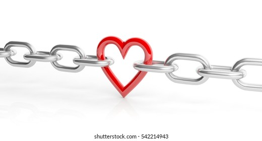 3d rendering red heart in a chain on white background