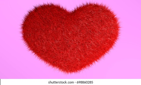 3D rendering, red heart with pink background.