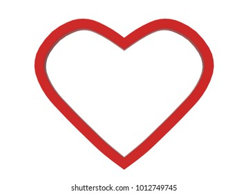 3d rendering. Red heart shape frame picture isolated on white background with clipping path.