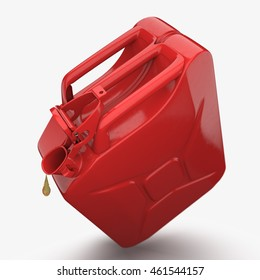 3D rendering red jerrycan with fuel oil drop