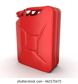 3D rendering red jerrycan on white background