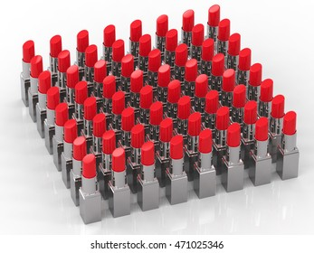 3d rendering a lot of red lipsticks