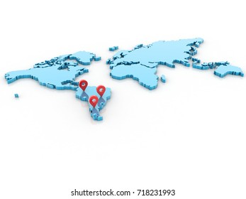 3d rendering Red map pointer with world map
