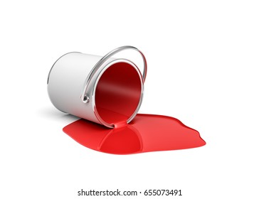 3d rendering of a red paint bucket lying on its side with all paint leaking out. Renovation and design. Interior. Building supplies.