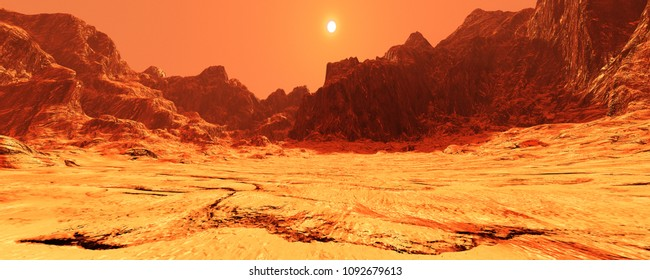 3D rendering of a red planet Mars landscape