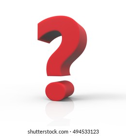 3D rendering red question mark isolated on white background