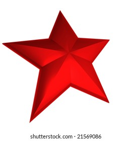 3D rendering of a red star against a white background