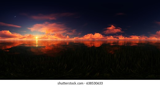 3d rendering of a red sunset over a lake