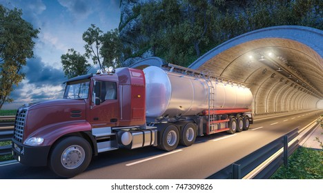 3d rendering of Red Tanker Truck Coming Out of the Tunnel
