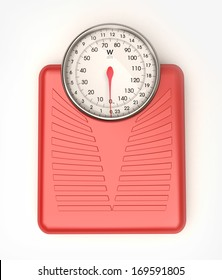 3D rendering of a red weight scale