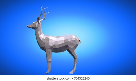 3d rendering of a reflective deer animal with beautiful horns
