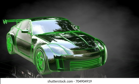 3d rendering of a reflective sport car on a dark black background