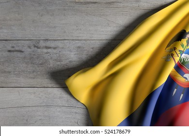 3d rendering of Republic of Ecuador flag waving on wooden background