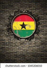 3d rendering of a Republic of Ghana flag over a rusty metallic plate embedded on an old brick wall