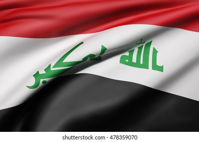 3d rendering of Republic of Iraq flag waving